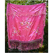 Fabulous Flowers and Birds Embroidery Pink Silk Fringed Gypsy Piano Shawl Vintage
