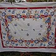 SOLD Red Yellow Blue Flowers Leaves Vintage 1950's Print Tablecloth