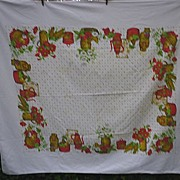 Flowers Fruits Vegetables Border Print 50's Large Tablecloth