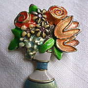 SALE Signed Blossom Time Flowers in Vase Brooch Pin