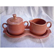 New Fiesta Rose Cream and Sugar with Tray Set