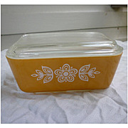 Pyrex Butterfly Gold 0502 Leftover Refrigerator Dish with Lid 1 ½ Pint