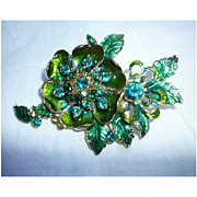 SALE Green Rhinestones and Enamel Large Flower and Leaves Vintage Brooch Signed Monet