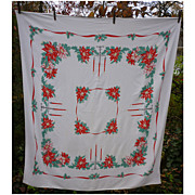 Candelabra Holly Poinsettias Red Ribbons 50's  Print Xmas Tablecloth