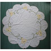 SALE Arts & Crafts Embroidered  Yellow Angel Trumpet Flowers White Round Centerpiece