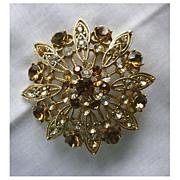 SALE Sparkling Yellow Topaz and Clear Rhinestones Medallion Flower Goldtone Brooch Signed Liz