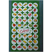 Colorful Calories Counter Print Vintage Kitchen Towel Mint