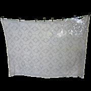 SOLD Ferns Fronds Diamond Quilt Block Ecru Ivory Crochet Tablecloth