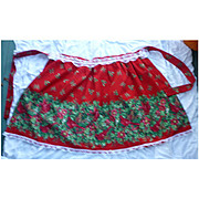 Cardinals Holly and Flowers Print and Lace Trim Vintage Christmas Apron