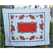 Holly Poinsettias Jingle Bells and Bows Vintage 50's Print Christmas Tablecloth