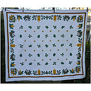 White Poinsettias Evergreens Pine Cones Candles Vintage 60's Print Christmas Tablecloth