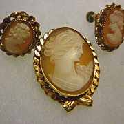 SALE Shell Cameo Brooch and Earrings Set 14K Gold Filled