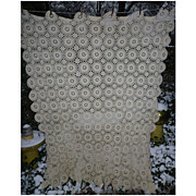 SOLD Cottage Lacy Ecru Ivory Medallions Crochet Tablecloth