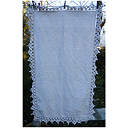 SALE Linen Tablecloth With Heavy Cotton Crochet Edging