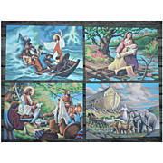 Bible Scenes Vintage Paint-by-Numbers Paintings Set of 4