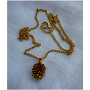 Red and Goldtone Pine Cone Pendant Necklace