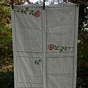 Embroidered Roses on Linen Luncheon Set American Home Pattern