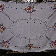 SALE Art Deco Poppies Wheat  Flowers Embroidered Linen Tablecloth
