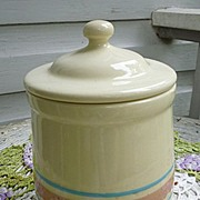 McCoy Stonecraft Blue and Pink Stripe Tea Canister  135