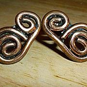 SALE Modernist Copper Scrolls Screw Back Earrings