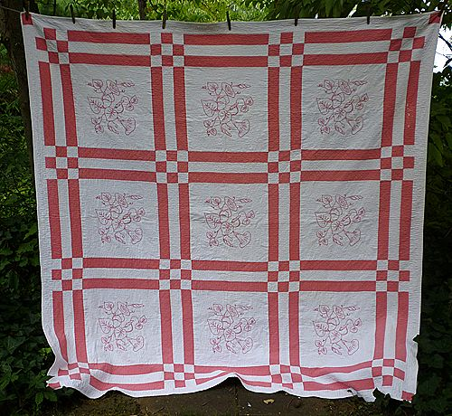Pink and White Embroidered Morning Glory Quilt Vintage 1930s