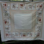 SOLD Kitchen Kettles Trivets Vignettes 1950's Print Tablecloth
