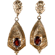 14K Gold and Garnet Dangle Pierced Earrings