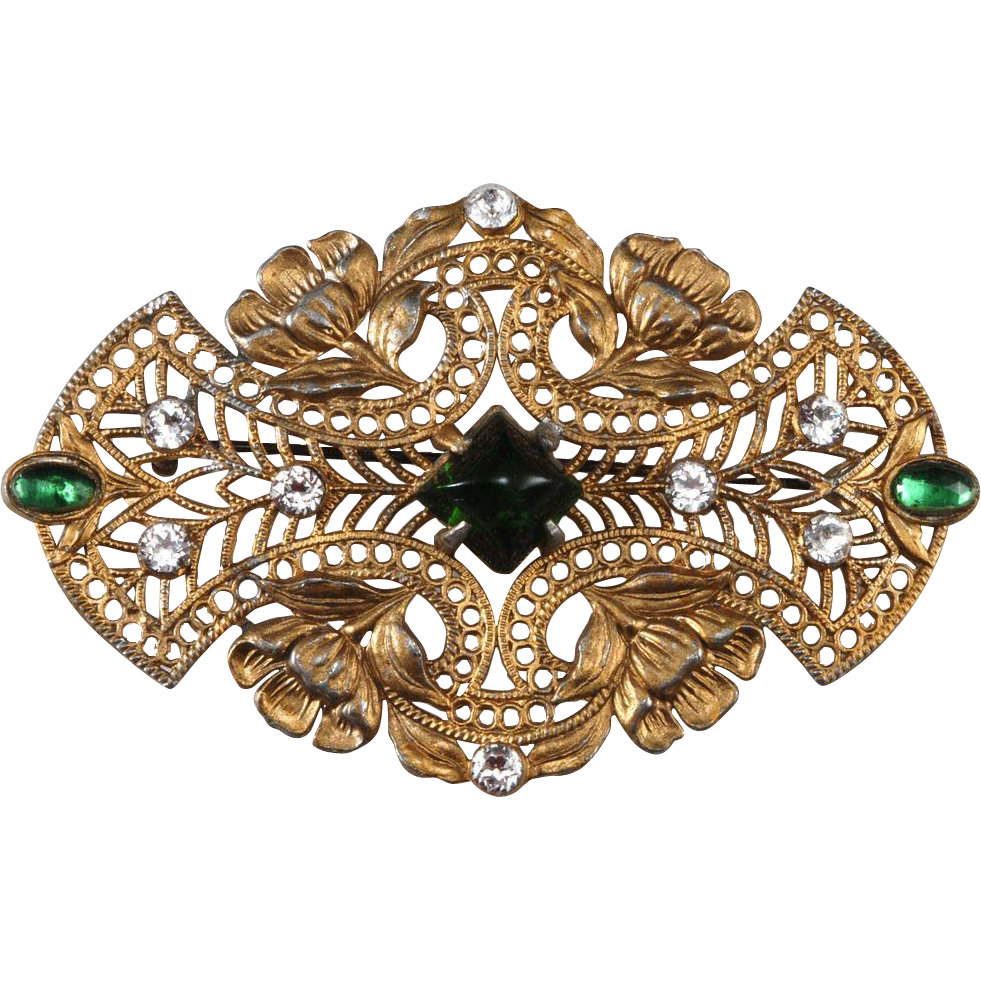 Gold Plated Pot Metal Brooch Pin c. 1915-1920
