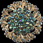 1950s Peacock Blue Aurora Borealis Rhinestone Brooch Pin