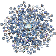 Beaujewels LARGE Blue Rhinestone Brooch Vintage