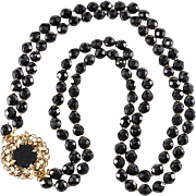 Convertible Necklace Brooch with Black Beads and Faux Pearls