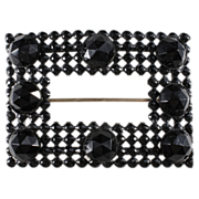 SALE Black Glass & Enamel Sash Pin Brooch c. 1890s