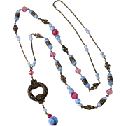 E.A. Bliss c. 1920 Pink & Blue Glass Sautoir Necklace