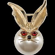 Boucher Faux Pearl Rabbit Pin Brooch
