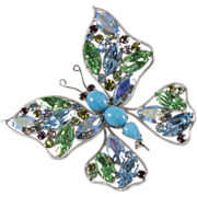 Brania Rhinestone Butterfly Brooch Pin