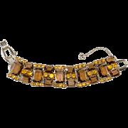 Juliana D&E Brown Amber Rhinestones Bracelet Vintage