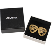 CHANEL CC Logo Triangle Earrings