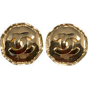 CHANEL Octagon CC Logo Earrings 1990s