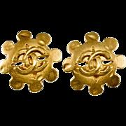 CHANEL CC Logo Matte Gold-Tone Earrings
