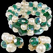 Hattie Carnegie Green & Pearl Wrap Bracelet & Earrings Set