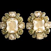 Hattie Carnegie Givre' Yellow Rhinestone Earrings