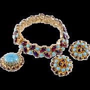 Hattie Carnegie Turquoise Blue and Dragon's Breath Rhinestone Bracelet Earrings Set