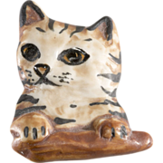 Carol Halmy Porcelain Cat Brooch Pin