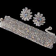 Alice Caviness Style Iridescent Rhinestone Bracelet Earrings Set Vintage 1950s