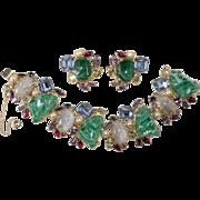 Alice Caviness Emerald Green Multi-Color Rhinestone Bracelet Earrings Set