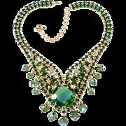 Designer Green & Iridescent Rhinestone Statement Necklace
