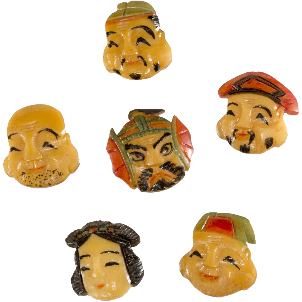 Japanese Toshikane Gods of Fortune Immortals Buttons Set of 6