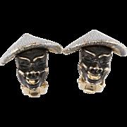 Enameled Face Earrings w/ Chinese Hats