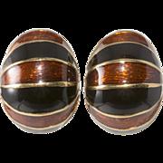 Ciner Black and Brown Enameled Half Hoop Earrings