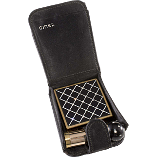 Ciner Black with Clear Rhinestones Compact Lipstick Set